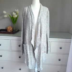 Roots Grey Knit Open Long Cardigan